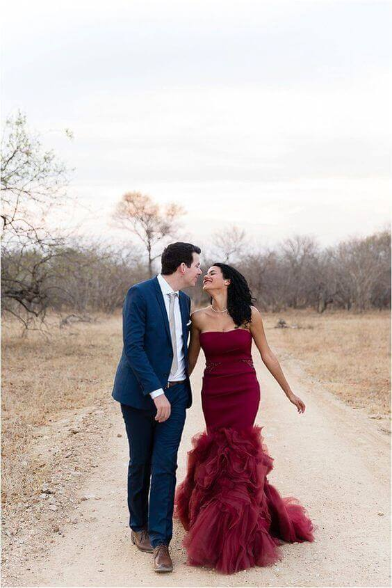 Wedding gowns in different colours can be as colorful or modest as you wish, so here are some lovely shades, degrades and white dresses with dashes of color on the details and we all know the details sure can make quite the difference! See wedwithbliss.com for more